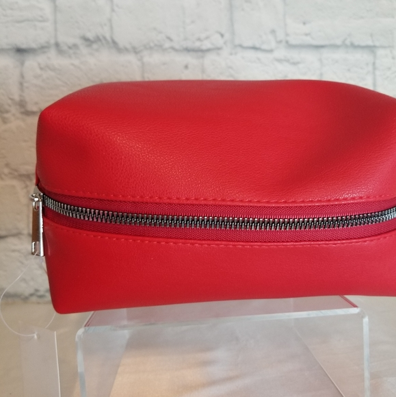 Ruby Red Shiny Pouch  Ruby Red Patent Leather Pouch  Red  Pouch  Red Pencil Case  Shiny Red Pencil Case  Make Up Pouch with Wristlet